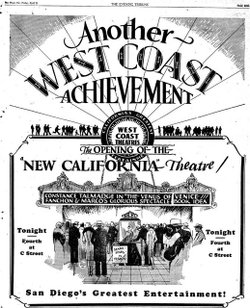 "An advertisement for the 1927 grand opening of the California Theatre. ""The Venus of Venice,"" a black and white silent film, was the first movie shown at the theater."