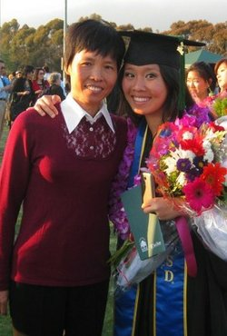Zhou at her graduation from UCSD with her mother. 
