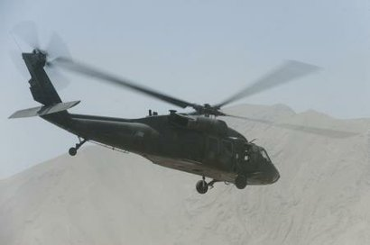A UH-60 Black Hawk conducts a mission over northern Afghanistan in 2011.