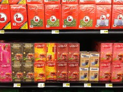 The selection of teas at a new grocery store serving the large Iraqi community in the San Diego suburb of El Cajon.