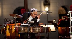 Pete Escovedo plays for the audience at the White House for the October 13, 2009 taping.