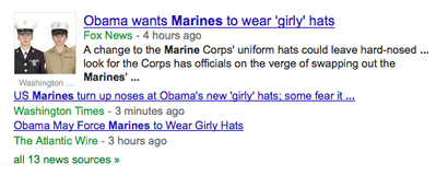 "Screen shot of ""Obama Girly Hats"" headlines"
