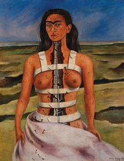 "The original Kahlo self-portrait titled ""The Broken Column."" Kahlo painted it in 1944 shortly after undergoing spinal surgery."