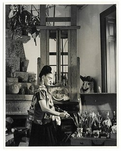 Frida Kahlo in an art studio.