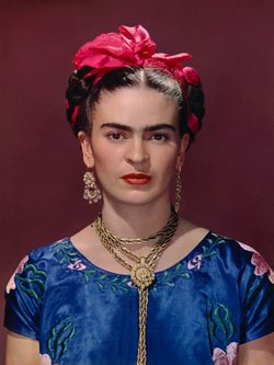 The portrait of Frida Kahlo used on the exhibit's advertising materials. It's from a photograph taken by Nickolas Muray, one of Kahlo's friends and lovers.