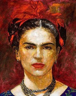 Frida Kahlo by contemporary muralist George Yepes. A poster of this image is for sale at the La Onda Arte Latino gallery at NTC at Liberty Station.