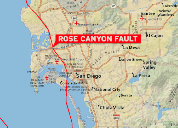 This Map Shows The Rose Canyon Fault That Cuts Through The
