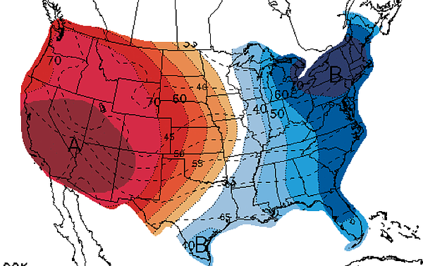 This map of the U.S. shows a three- to six day temperature outlook, with forecasts for above average temperatures shown in red and below average shaded in blue. San Diego County, covered in dark red, is expected to experience a strong heat wave from March 26-28, 2015.