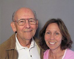 Patricia Gordon-Reedy and her father, Irving Gordon, at the StoryCorps Mobile Booth in San Diego.