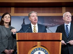 Sens. Kelly Ayotte, R-N.H., Lindsey Graham, R-S.C., and John McCain, R-Ariz., appear during a news conference Wednesday about the terrorist attack in Benghazi, Libya. Graham argued that Susan Rice, currently the U.S. ambassador to the U.N., misled the public when addressing the attack, in which four Americans were killed.