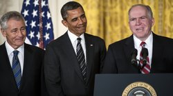 John Brennan speaks after President Obama announced his nomination of Brennan to run the CIA in the East Room of the White House on Monday. Obama also announced his choice of former Sen. Chuck Hagel (left) to head the Department of Defense.
