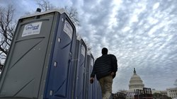 Portable toilets are installed around the U.S. Capitol in preparation for Monday&#39;s inauguration. A new app this year will help the crowd follow the event  and even find the closest port-a-potty.