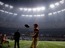 David Akers #2 of the San Francisco 49ers waits during a power outage that occurred in the third quarter that caused a 34-minute delay during Super Bowl XLVII.
