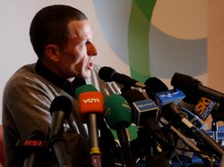 Lance Armstrong speaks at the press conference of the 100th Milan-San Remo Cycle Race on March 20, 2009.