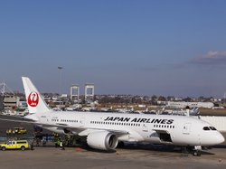A Japan Airlines Boeing 787 Dreamliner jet aircraft is surrounded by emergency vehicles at Logan International Airport in Boston on Monday. JAL has temporarily canceled its Dreamliner flights from San Diego to Tokyo.
