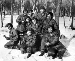 Members of the Women's Army Corps pose at Camp Shanks, N.Y., before leaving on Feb. 2, 1945. The women were with the first contingent of the Black American WAC to go overseas for the war effort.