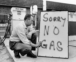 On June 1, 1973, Leon Mill spray painted a sign outside his Phillips 66 station in Perkasie, Pa., to let his customers know he was out of gas. An oil crisis was the culprit, squeezing U.S. businesses and consumers who were forced to line up at gas stations for hours.