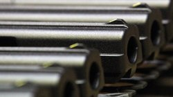Handgun barrels on the assembly line of Hi-Point Firearms in Mansfield, Ohio.