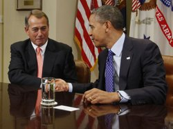 Getting started: President Obama and House Speaker John Boehner, R-Ohio, at the start of today&#39;s meeting.