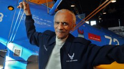 Former Tuskegee Airman Herbert Carter, in January at the Tuskegee Airmen National Historic Site in Alabama. Behind him: A  PT-17 trainer aircraft.