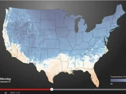 An image from the animated look at how cold air has spread over the nation.