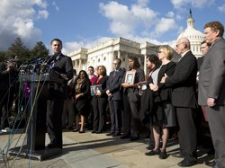 Dan Gross, president of the Brady Campaign to Prevent Gun Violence, calls on Congress to address gun violence at a news conference on Capitol Hill on Tuesday. More than 20 family members and victims of mass shootings across America joined him.