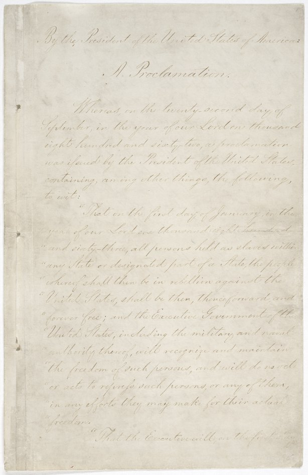 The first page of the Emancipation Proclamation on display at the National Archives in Washington, D.C.
