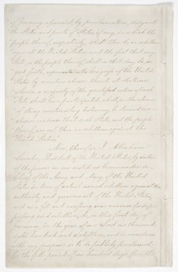 Page two of the Emancipation Proclamation on display at the National Archives in Washington, D.C.