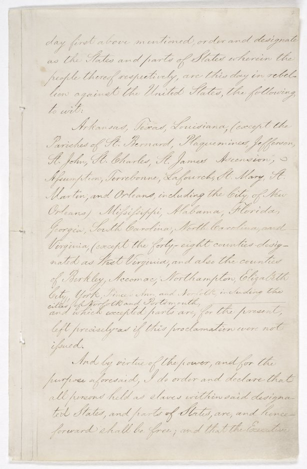 Page three of the Emancipation Proclamation on display at the National Archives in Washington, D.C.