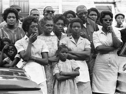 Mourners outside funeral services for Carol Robertson, one of four girls killed in the 1963 bombing.