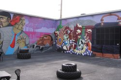 The second wall of Nunca&#39;s mural references Miami&#39;s material culture.