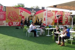 Los Angeles artist Shepard Fairey&#39;s new mural revolves around an image of Wynwood Walls founder Tony Goldman.