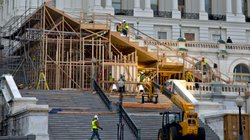 Construction is underway on the viewing stand in front of the U.S. Capitol for President Barack Obama's Inauguration Day ceremonies on Jan. 21.