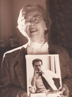 Jeanne Manford, founder of PFLAG, holds a photo of her son, Morty Manford, circa 1993.