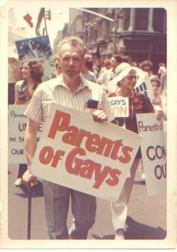 Suzanne, Jules, and Jeanne Manford (left to right) march for gay rights.