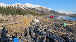 Trash, much of it likely debris from the 2011 Japanese tsunami, litters the beach on Montague Island, Alaska on Jan. 26, 2013.