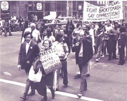 Jeanne Manford marches in 1972.