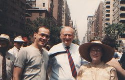 Morty Manford, Ed Koch, and Jeanne Manford (left to right).