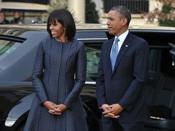 President Obama and first lady Michelle Obama outside St. John's Episcopal Church in Washington, D.C., this morning.
