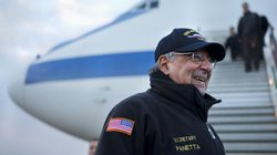 Defense Secretary Leon Panetta arrives in London on Jan. 17, 2013. Panetta is stepping down as defense secretary as soon as the Senate confirms his successor.