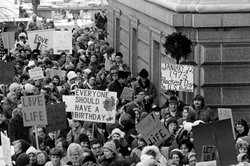 On Jan. 22, 1973, the day of the court&#39;s decision, an estimated 5,000 women and men formed a &quot;ring of life&quot; around the Minnesota Capitol building and marched in protest of the ruling that &quot;abortion is completely a private matter to be decided by mother and doctor in the first three months of pregnancy.&quot;