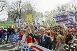 Democratic presidential candidate Bill Clinton marches with abortion-rights supporters past the White House, April 6, 1992. Although many positions vary at the state, local and even lower federal levels, Democrats at the national level have made abortion rights part of their party platform since 1976; Republicans began calling for