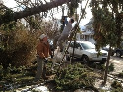 Veterans from around the country have deployed to the Northeast to help after Superstorm Sandy. Jeff Blaney, of San Francisco was in the Army (left), and Jamie Havig was a Navy medic attached to the Marines in Iraq.