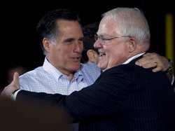 GOP Rep. James Sensenbrenner of Wisconsin (right) greeted former Republican presidential hopeful Mitt Romney at a campaign event last spring. Sensenbrenner sponsored a controversial 2005 House bill on immigration.
