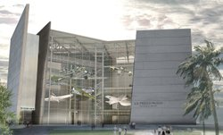 The museum's U.S. Freedom Pavilion, seen here as a digital model, opened to the public on Friday.