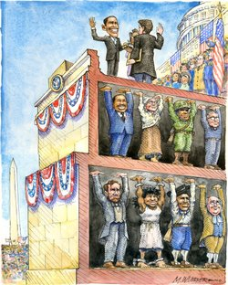 "Matt Wuerker borrowed the concept of ""œstanding on the shoulder of giants"" in his cartoon for the inauguration in 2009."