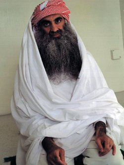 Khalid Sheikh Mohammed, shown in this file photo, and four other defendants accused of the 9/11 attacks appeared before a military commission in Guantanamo Bay, Cuba, on Monday. The session focused on procedural matters.