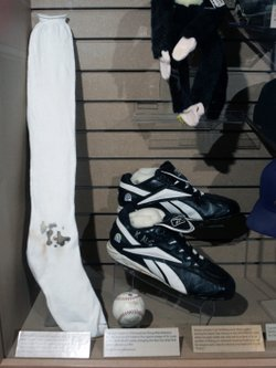 Boston Red Sox pitcher Curt Schilling's bloody sock and spikes are displayed at the National Baseball Hall of Fame. Schilling, whose video game company went bankrupt, is selling the blood-stained sock he wore during baseball's 2004 World Series.
