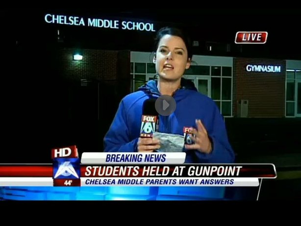 WBRC-TV reporting from the scene at Chelsea (Ala.) Middle School, where a gunman briefly held some students.