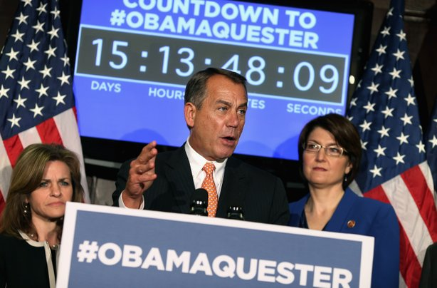 House Speaker John Boehner  held a news conference Feb. 13 in which Republicans promoted the hashtag #Obamaquester to blame President Obama for automatic spending cuts set to kick in March 1.